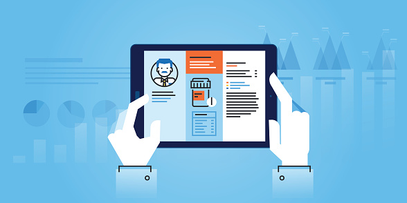 Flat line design website banner of medical app